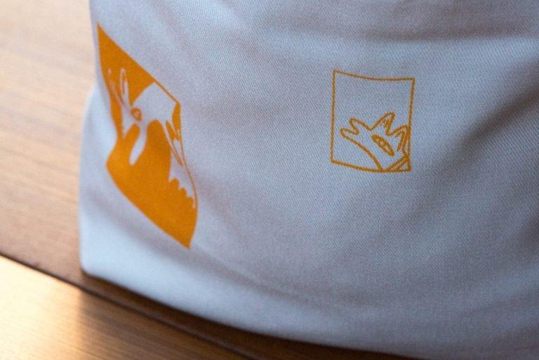 tote bag with orange dog printtote bag with orange dog print