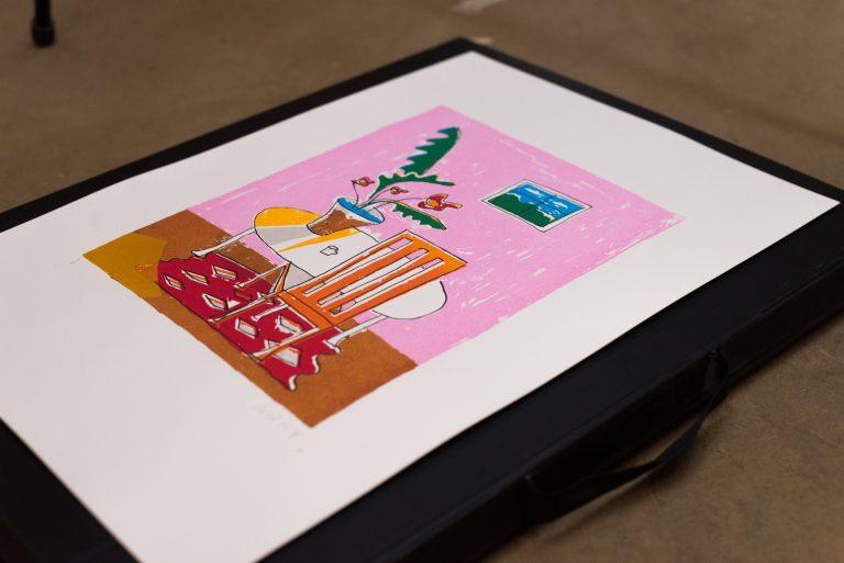 'Flowers in Pink Room' Screenprint